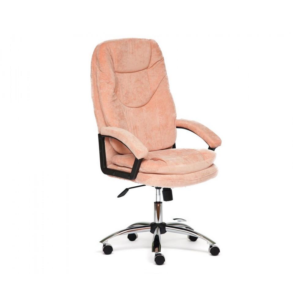 Кресло офисное SOFTY LUX хром — розовый