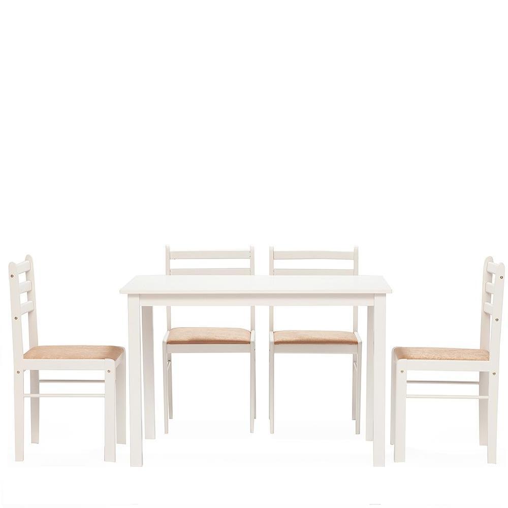 Обеденный комплект эконом Стетсон 2 (стол + 4 стула)/ Statson Dining Set — бежевый