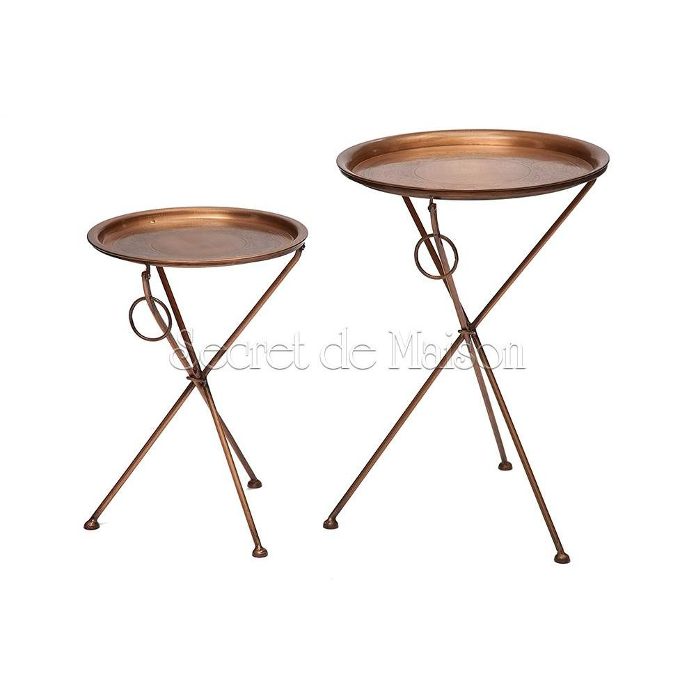 Набор из 2-х складных столиков Secret De Maison DEWI ( mod. M-5259 AB ) — античная медь