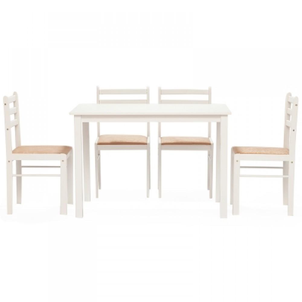 Обеденный комплект эконом Стетсон (стол + 4 стула)/ Statson Dining Set — бежевый