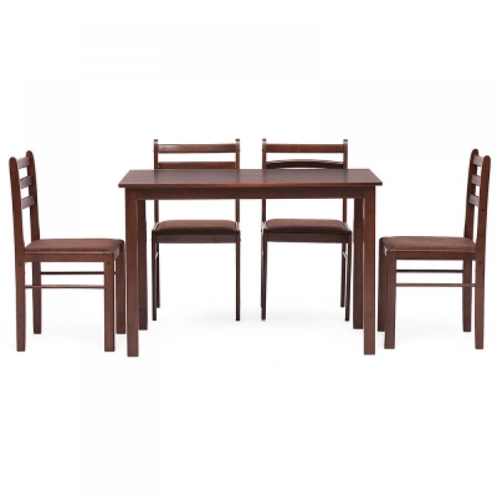Обеденный комплект эконом Стетсон (стол + 4 стула)/ Statson Dining Set — коричневый