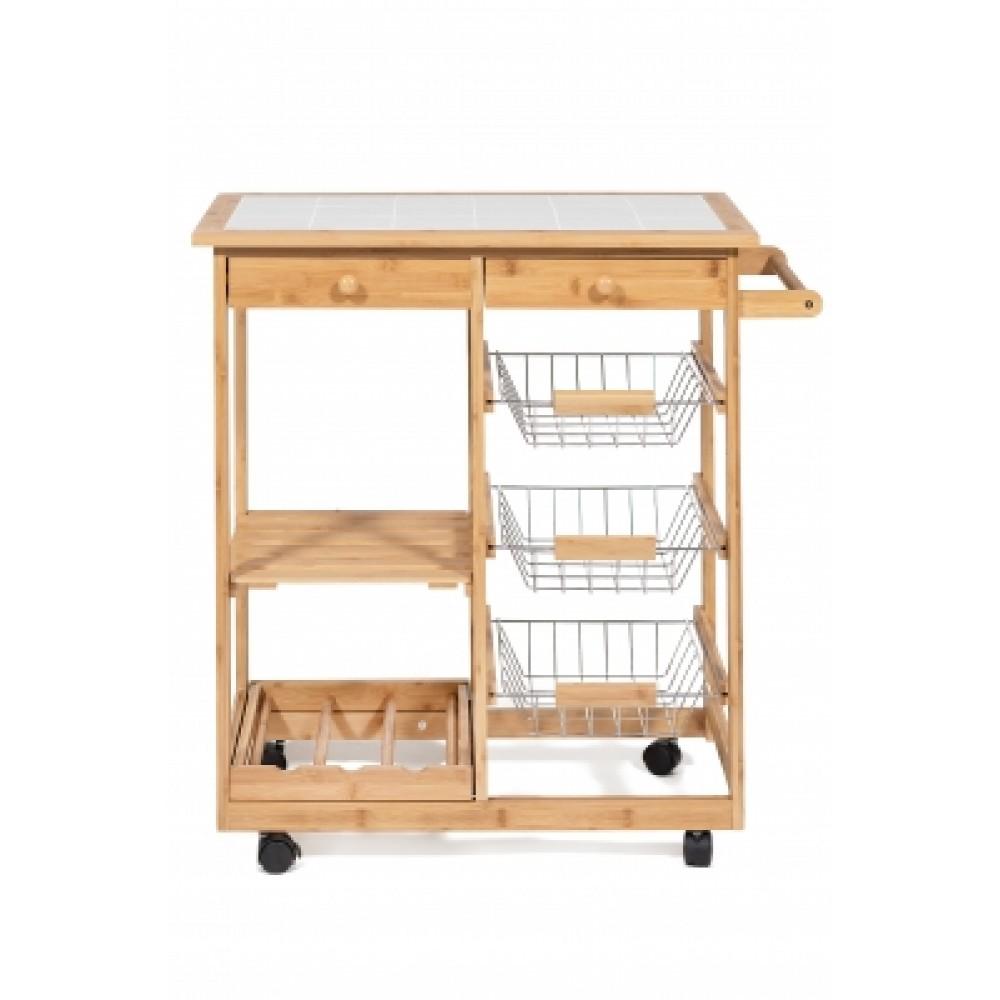 Столик передвижной кухонный разделочный (mod. JW3-2063) — натуральный