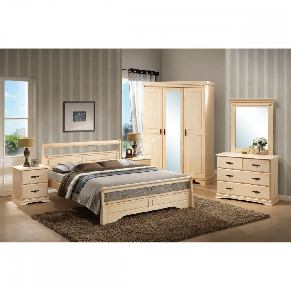 """Спальня """"Ирен (IREN)"""" (кровать 160*200 - 2-е тумбы прикр. - комод с зеркалом - шкаф 3-х дверный с зеркалом) —  Слоновая кость (без патины)  (MK-1950-IV)"""