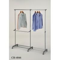 Вешалка для гардеробных одинарная с доп.отделом (CH-4846) — Хром/серый (MK-6305)