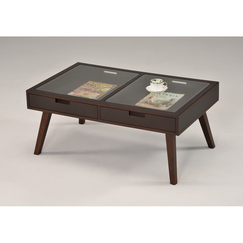 Журнальный столик со стекл. столешницей — Тёмный орех (MK-6311)