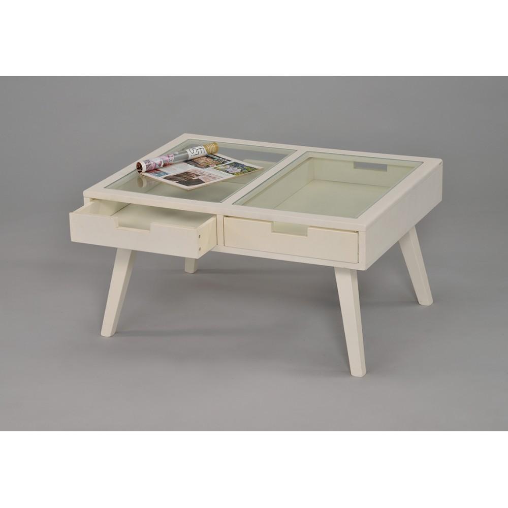 Журнальный столик со стекл. столешницей — Белый (MK-6311-WT)