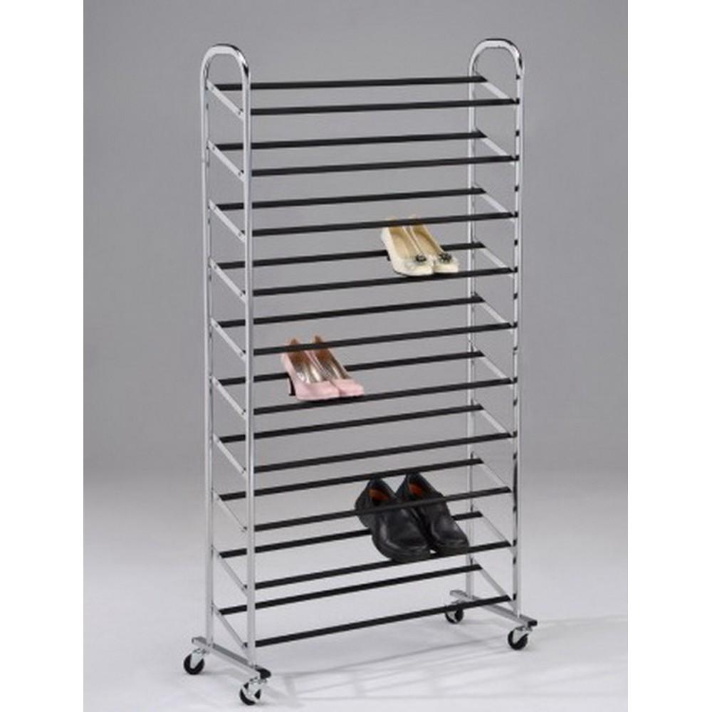 Обувница на колёсиках для гардеробных — Хром/чёрный (MK-6317)