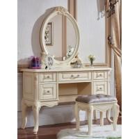 """Туалетный столик с овальным зеркалом """"Милано"""" — Слоновая кость (MK-8006-IV)"""