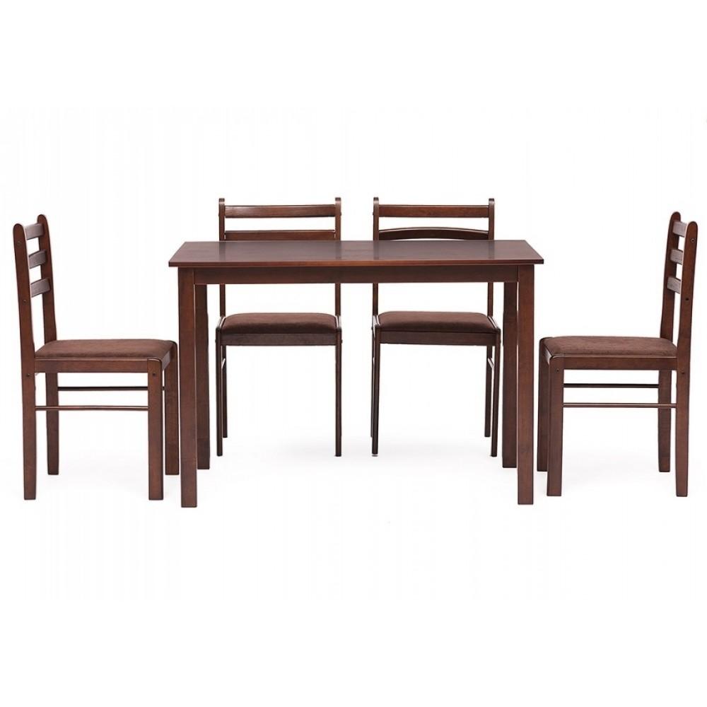 Обеденный комплект эконом Стетсон 2 (стол + 4 стула)/ Statson Dining Set — коричневый
