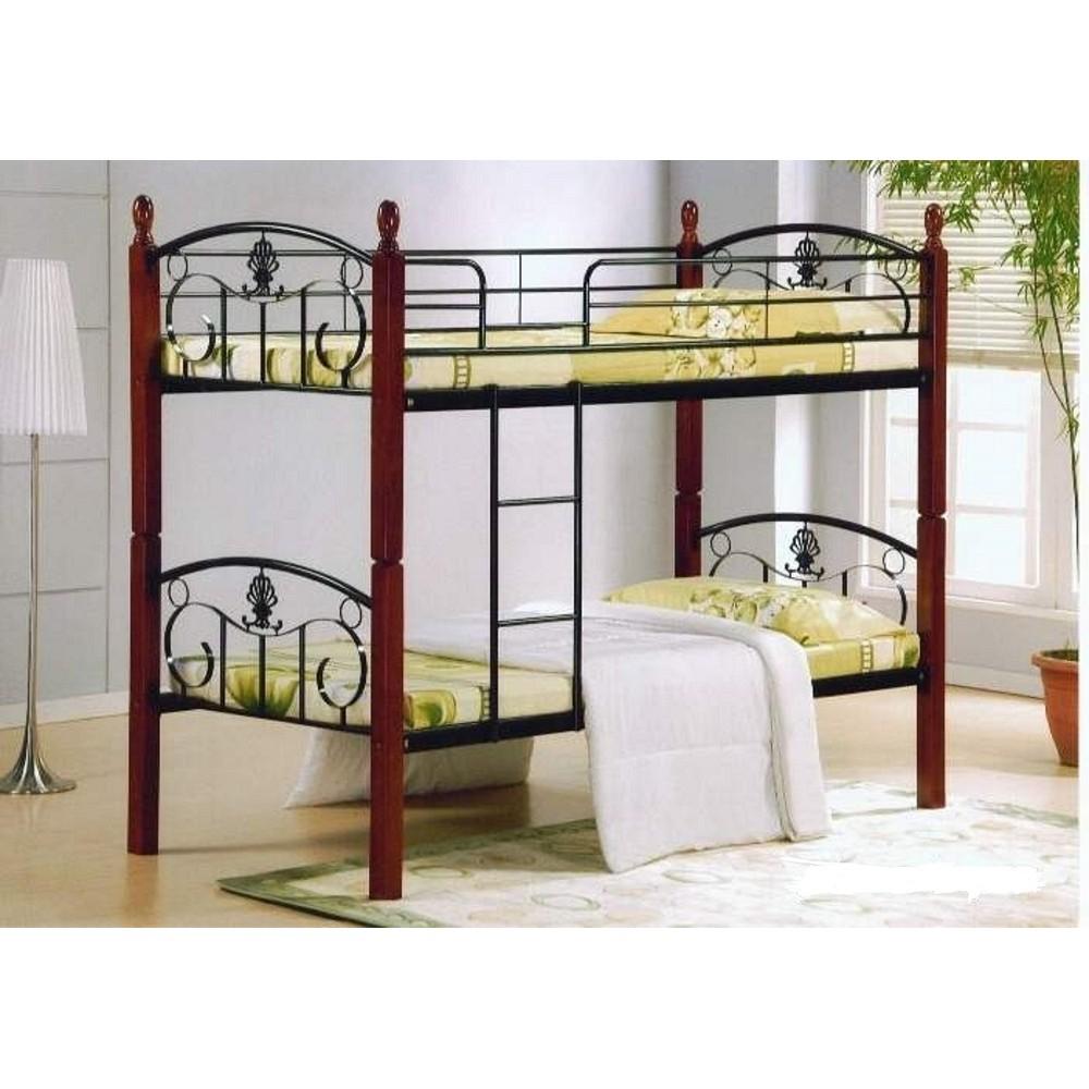 Кровать двухярусная Болеро (Bolero 200x90) Черный/Красный дуб — Черный/Красный дуб