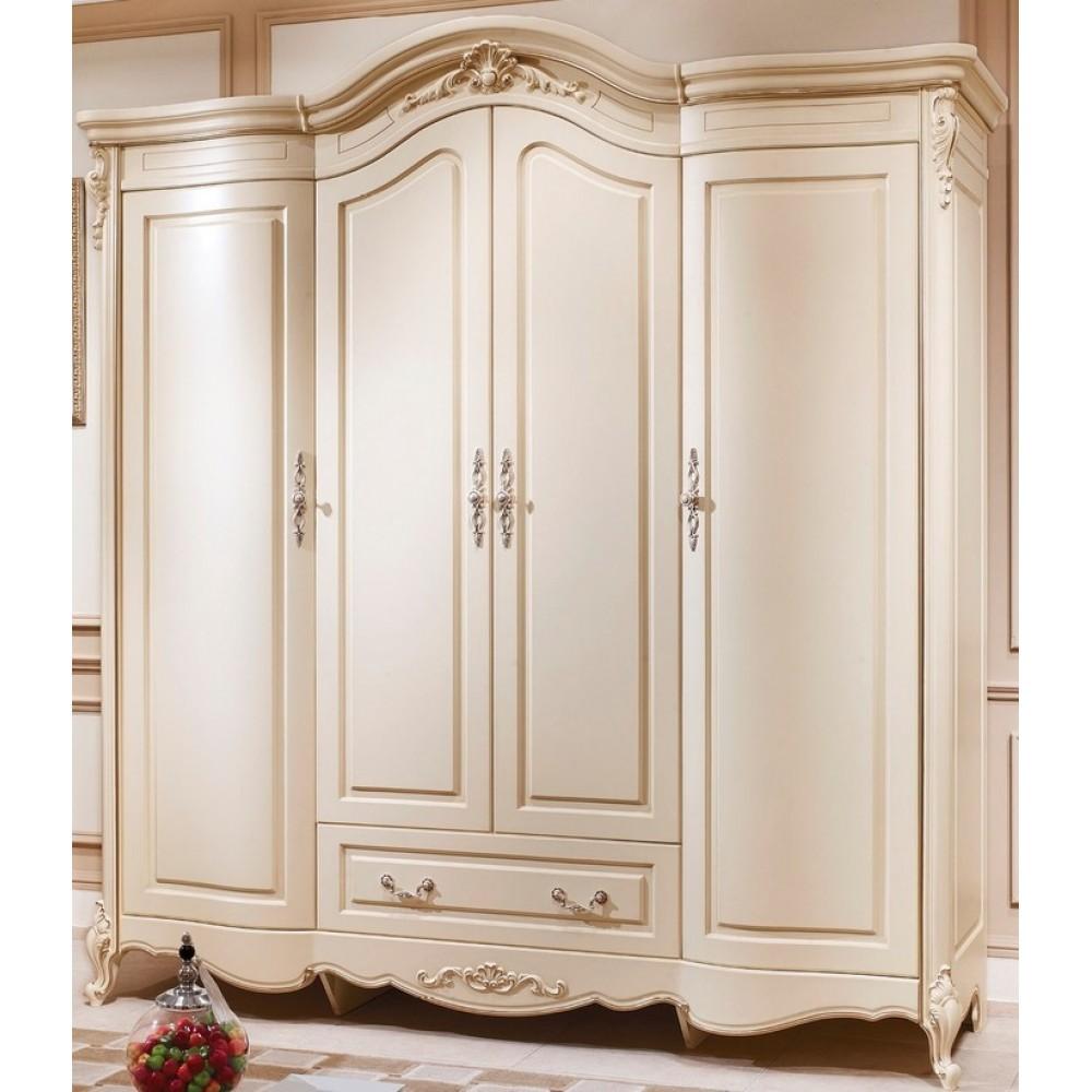 Шкаф 4-дверный Милано (8803-B MK-1837-IV) Слоновая кость