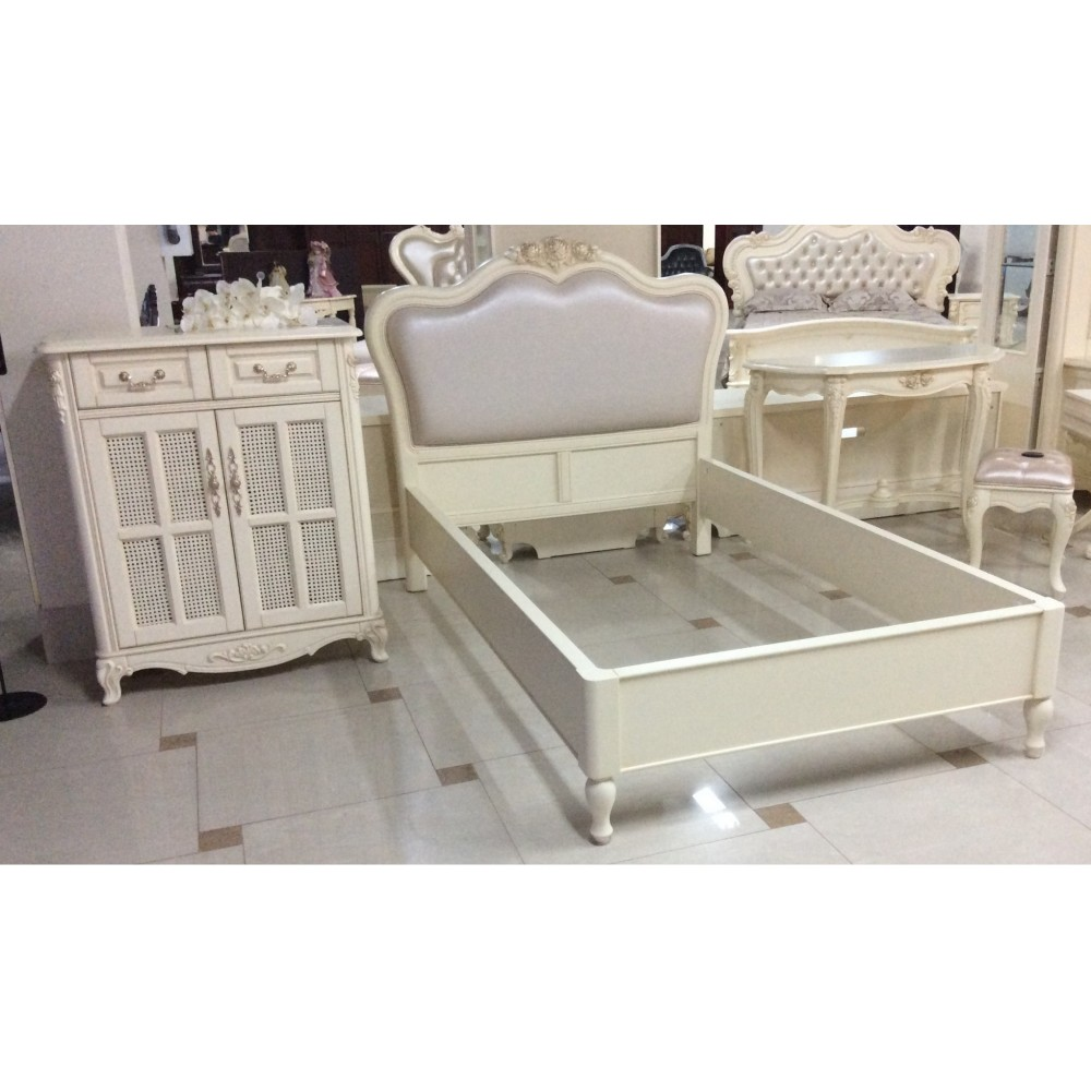 Кровать Милано (8801-A 200x120 без изножья, без стяжек MK-1846-IV) Слоновая кость