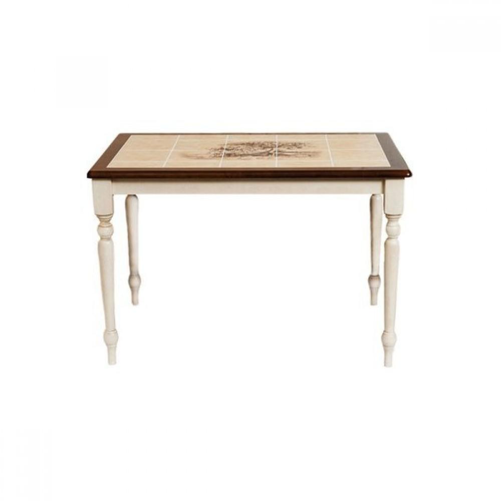 Стол с плиткой СТ 3045Р (Дерево) — Античный белый/Тёмный Дуб