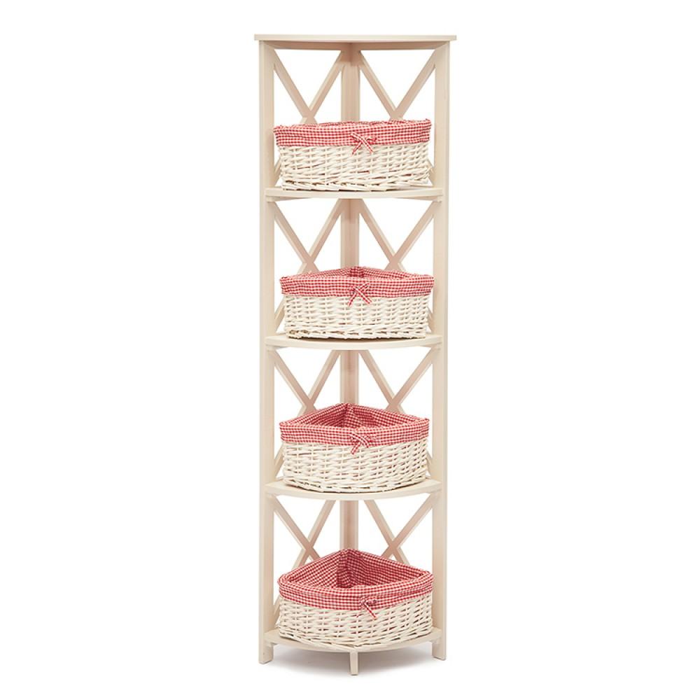 Угловая этажерка Secret De Maison «Ангюлэр (Angulaire) 4» (Ангюлэр 4) PE-05 (Белый) — Butter white (Светло кремовый)