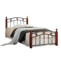 Кровать АТ-126 200x90 (Single) Черный/Красный дуб