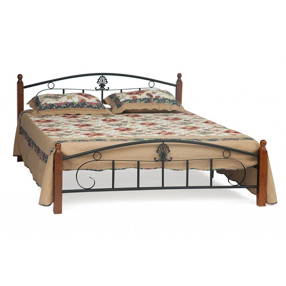 Кровать Румба (200x120) (AT-203/ RUMBA) Черный/Красный дуб