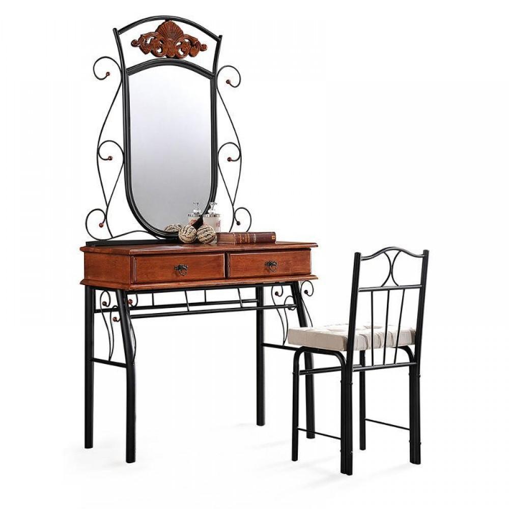 Туалетный стол Канцона (Canzona) со стулом — Черный/Красный дуб