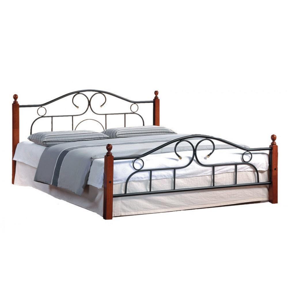 Кровать АТ-808 200x160 (Queen металл) Черный/Красный дуб