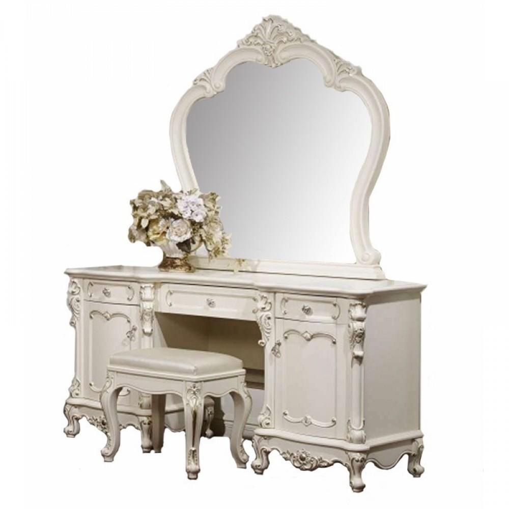 Столик туалетный Глория  с зеркалом и банкеткой (MK-2708) Молочный с золотом