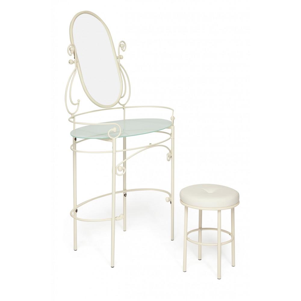 Туалетный столик с пуфом Альберт (Albert) — Античный белый (Antique White)