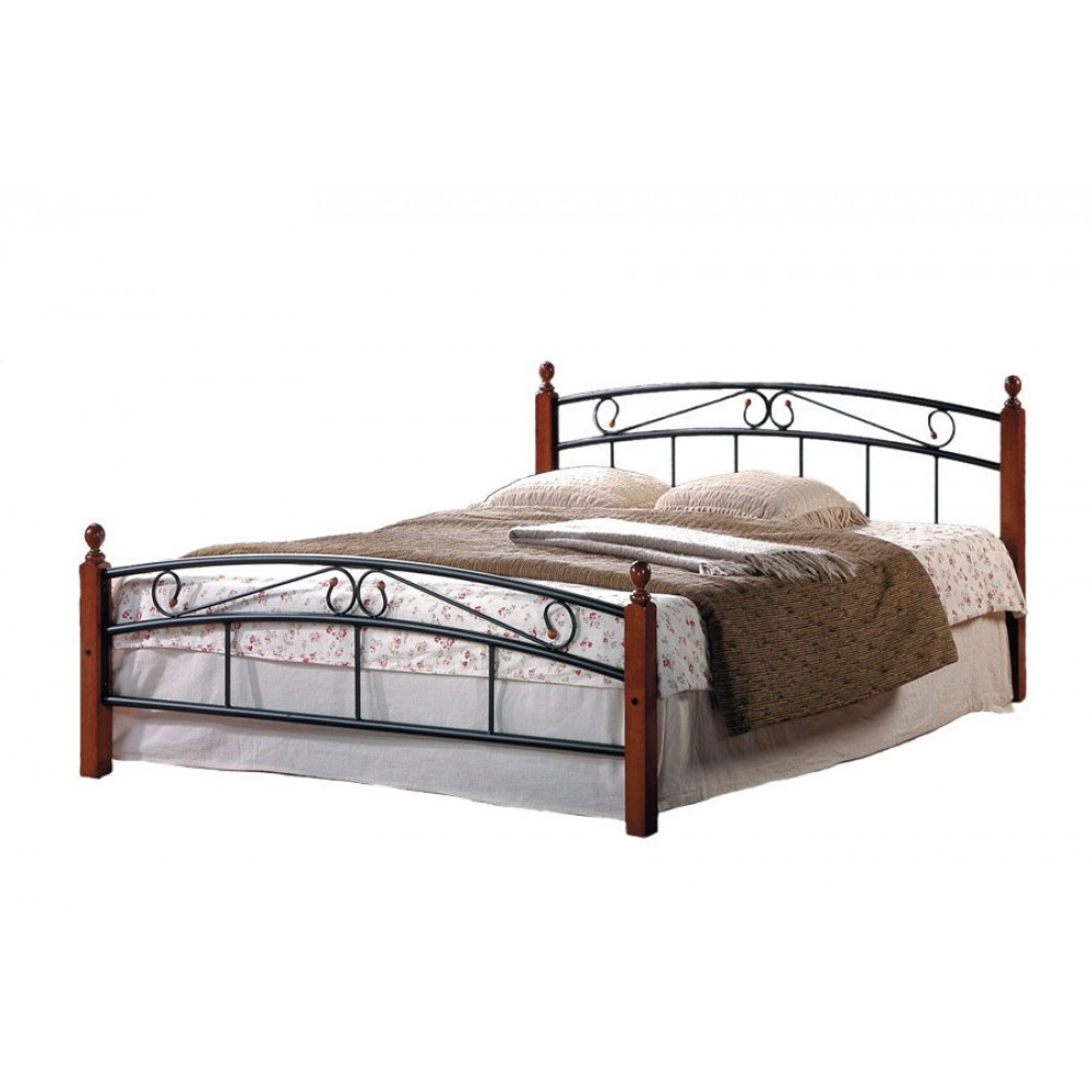 Кровать АТ-8077 200x160 (Queen деревянные ламели) Черный/Красный дуб