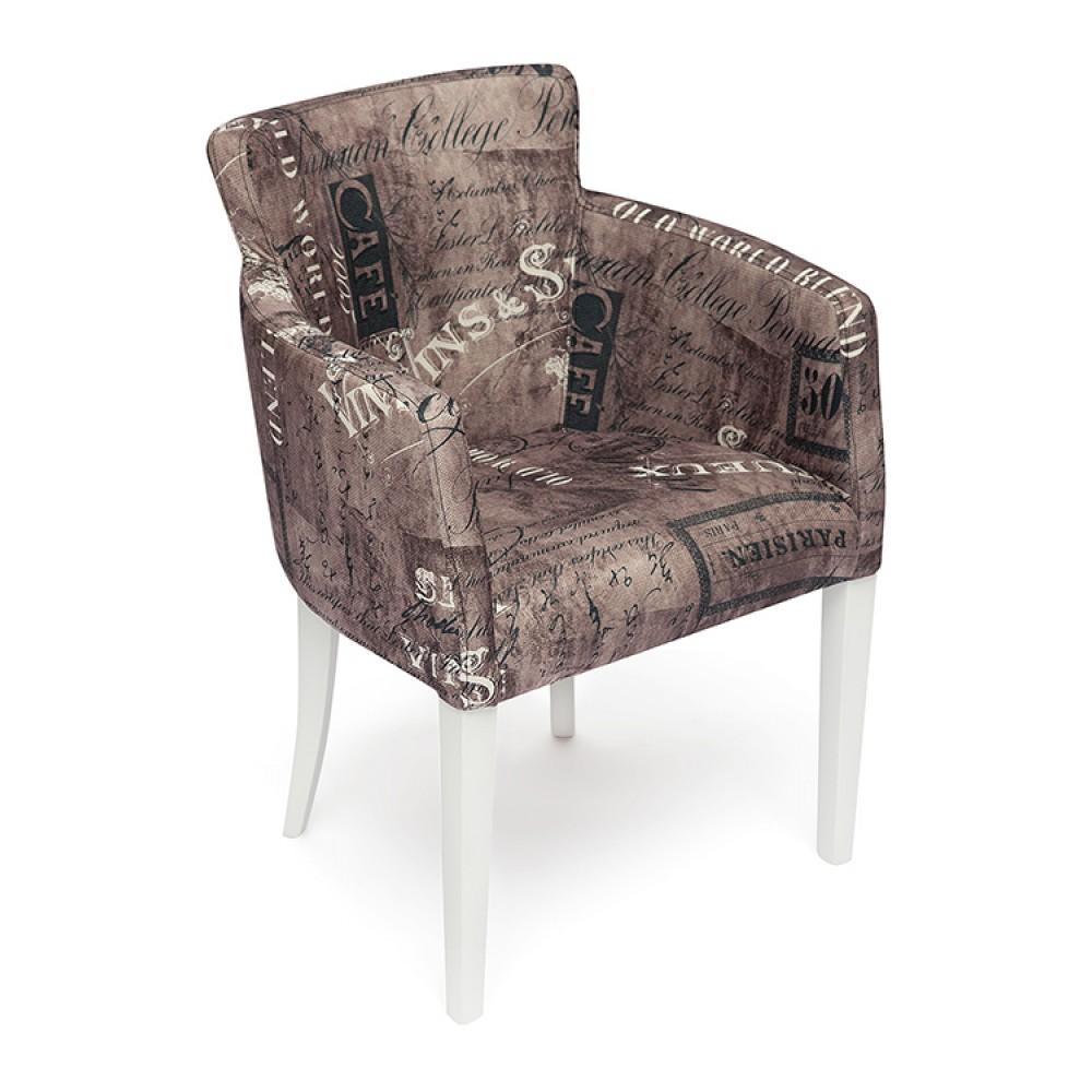 Кресло Кнез (KNEZ) Белый-Париж на коричневом