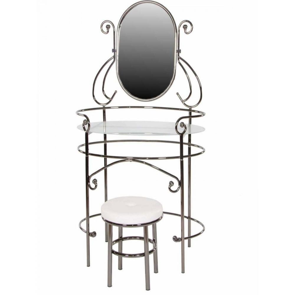 Туалетный столик с пуфиком 9909 (MK-2201-BN) Черный никель