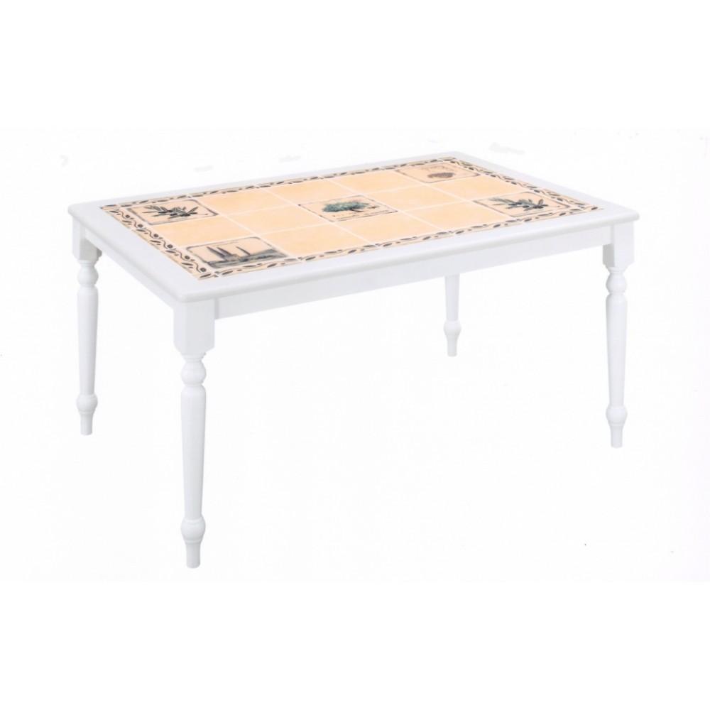 Стол с плиткой CT 3349  Прованс с бордюром — Butter white (Светло кремовый)