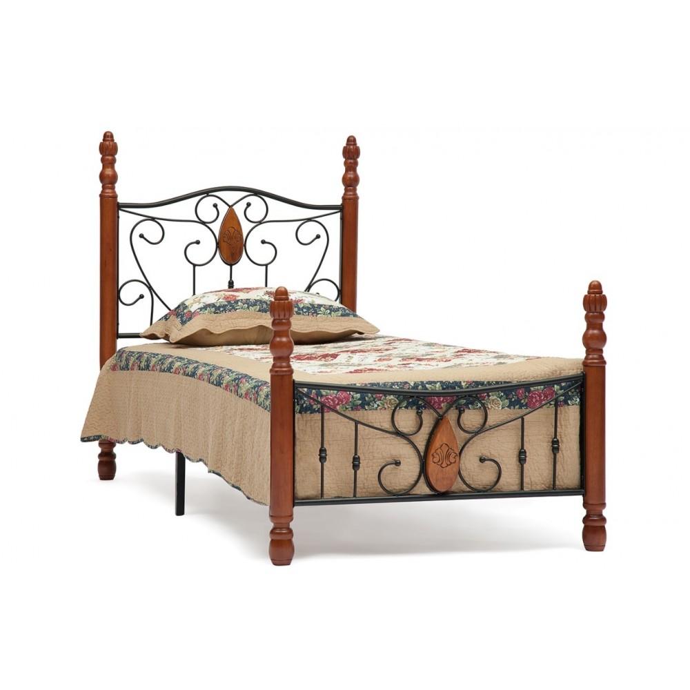 Кровать АТ-9003 200x160 (Single) Черный/Красный дуб