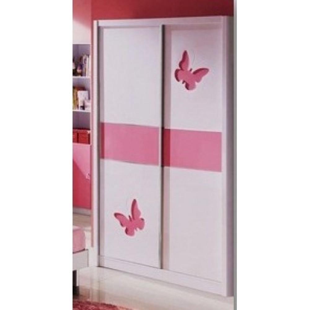 Шкаф купе 2-х дверный Пиккола (Piccola MK-4607-PI) Розовый-белый