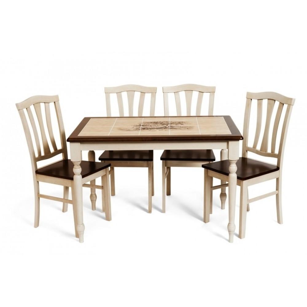 Обеденная группа Стол с плиткой СТ 3045Р (Прованс) - Стулья с твёрдым сиденьем СТ 8162 (Античный белый/Тёмный дуб)