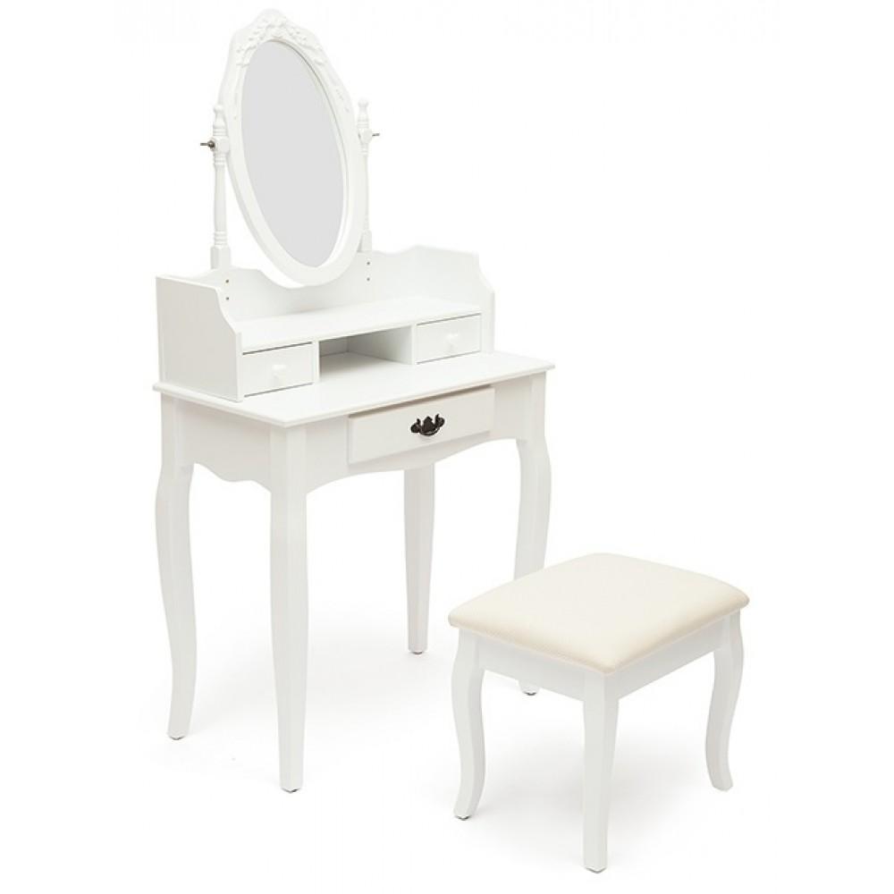 Туалетный столик NY-V3024 (с пуфом) — Butter white (Светло кремовый)