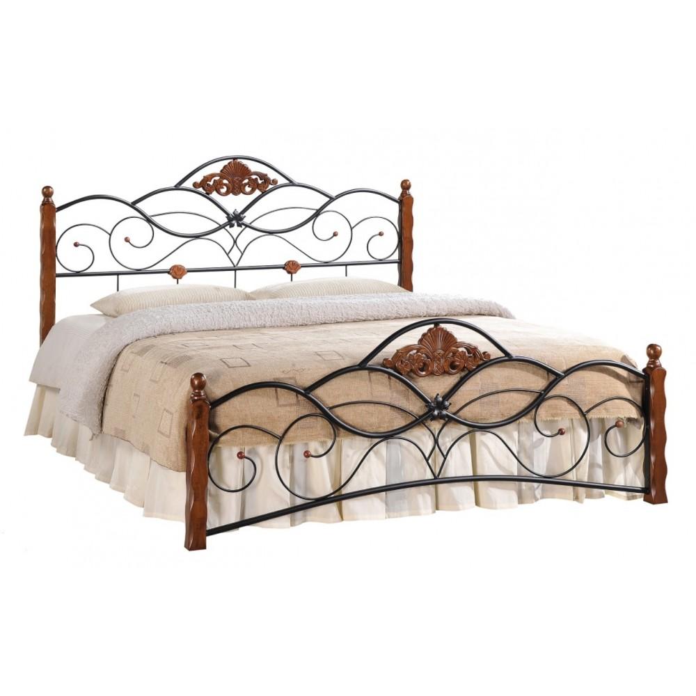 Кровать Канцона 200x160 (Canzona) Черный/Красный дуб