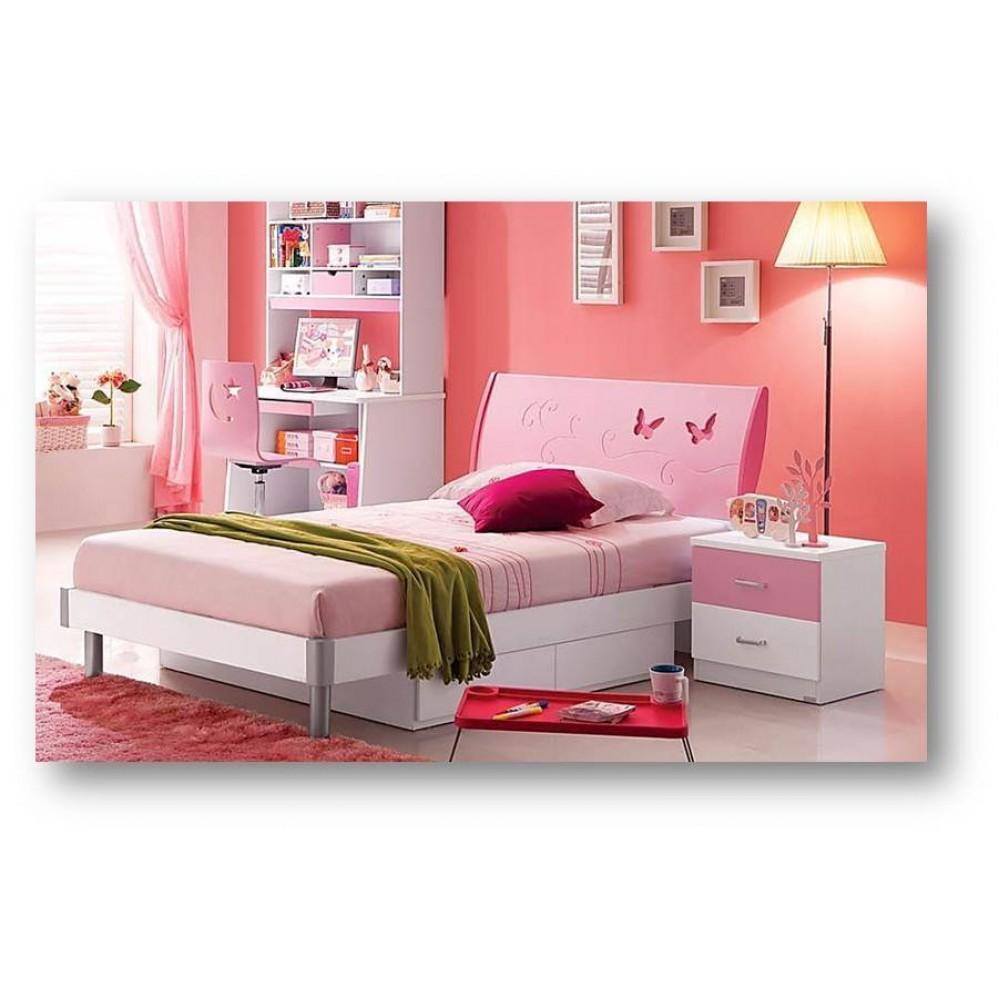 Кровать детская Пиккола (Piccola MK-4605-PI) Розовый-белый