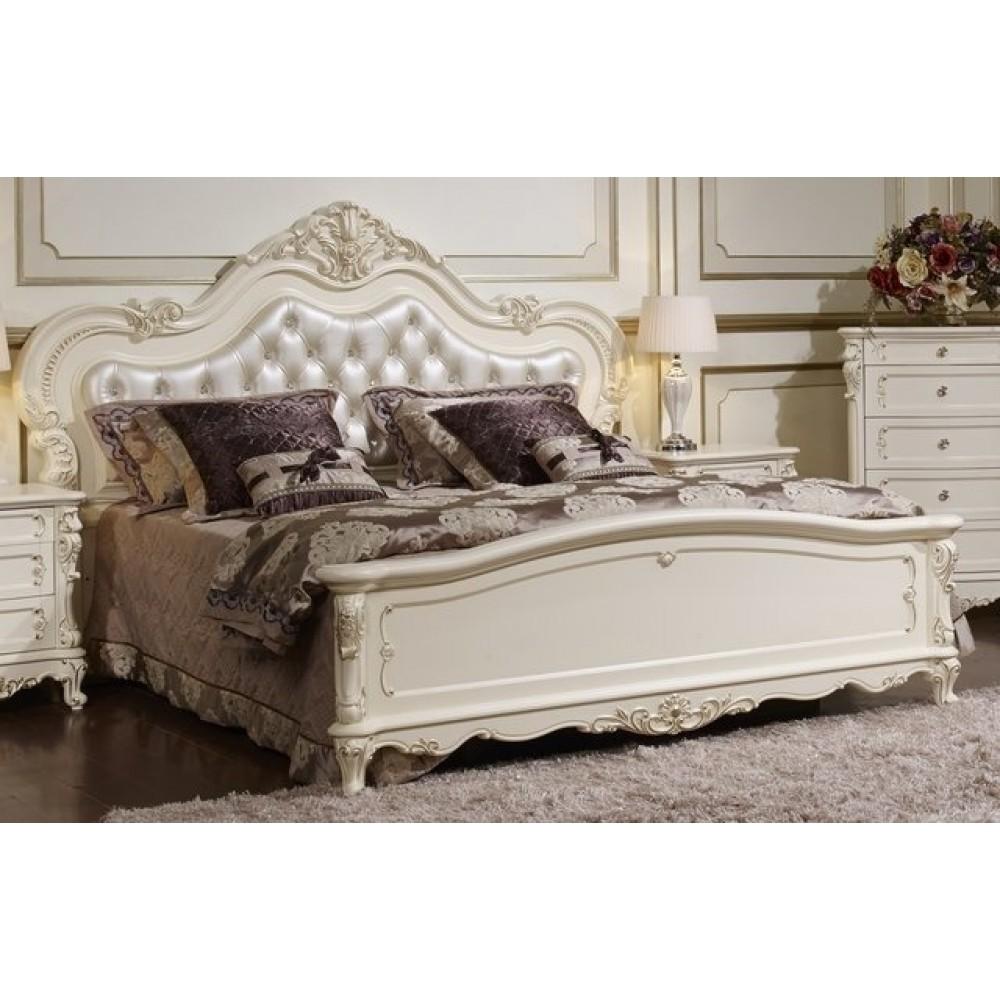 Кровать Глория 1,6 (MK-2702-WG) Молочный с золотом