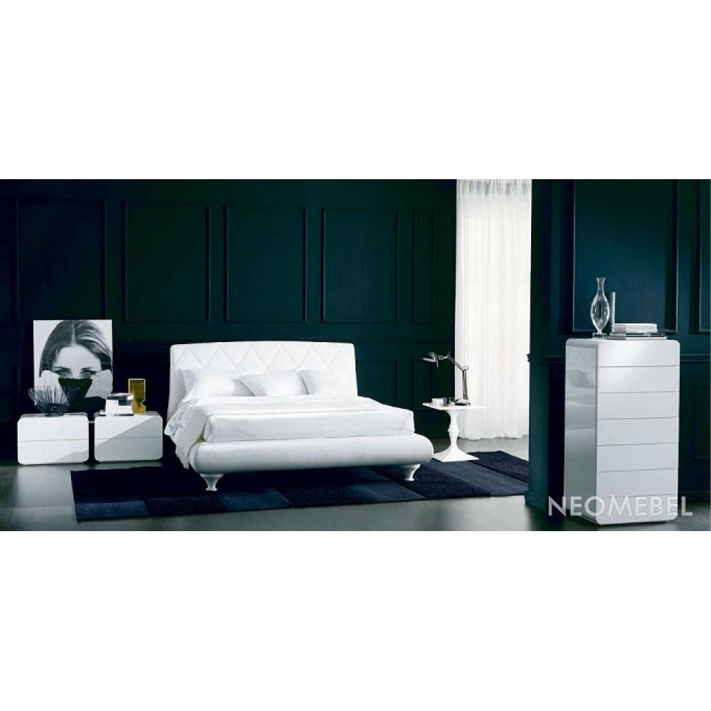 Кровать ALEXIA (3147PN) 180x200 (TR505 белый кат.В, экокожа, LO79 белые ноги) — белый