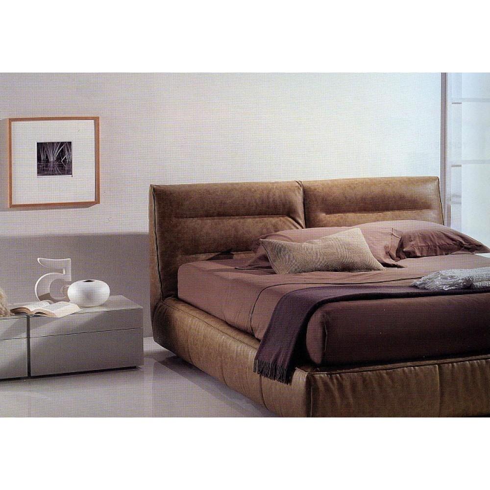 Кровать TESEO (3157B2) 160х200 см (TA093 карамель кат.А, экокожа) COMFORT  — бежевый