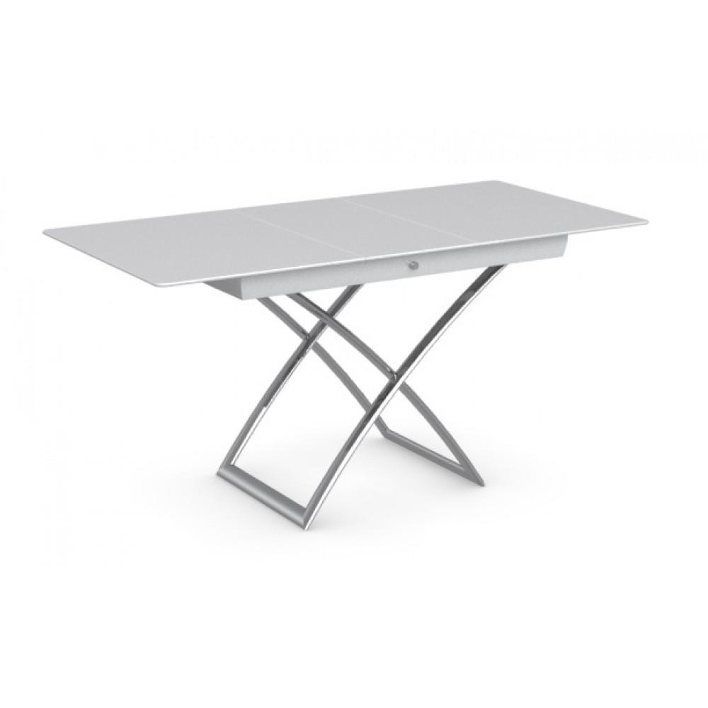 Стол MAGIC-J CS/5041-G, P77 chrome/ P64 white/ glass GXW extrawhite — белый