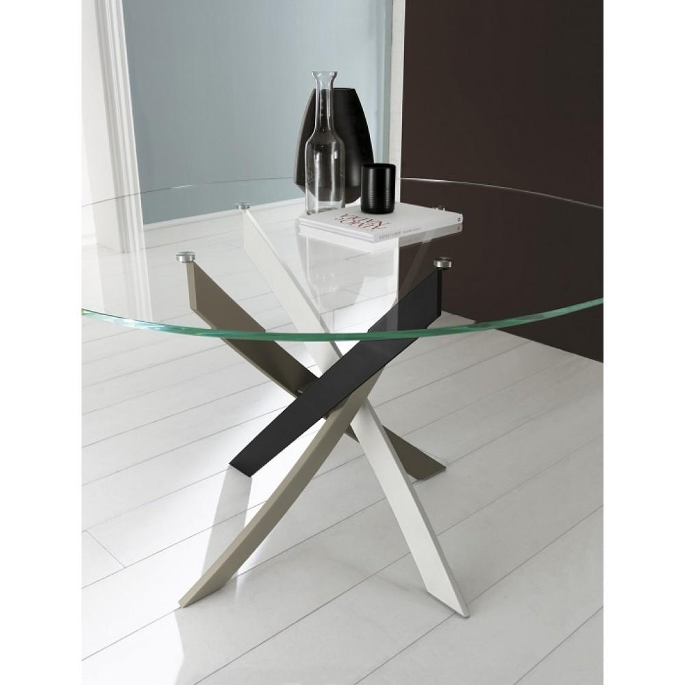 Стол BARONE (01.58) D-130x75 см (MC01 multicolor elegant/ С157 экстра-пр.ст.) — прозрачный