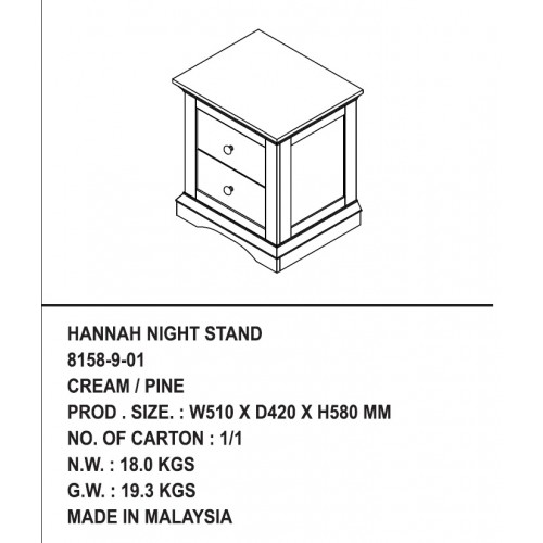 Тумба прикроватная HANNAH NIGHT STAND/ 8158-9-01 CREAM/PINE — натуральный