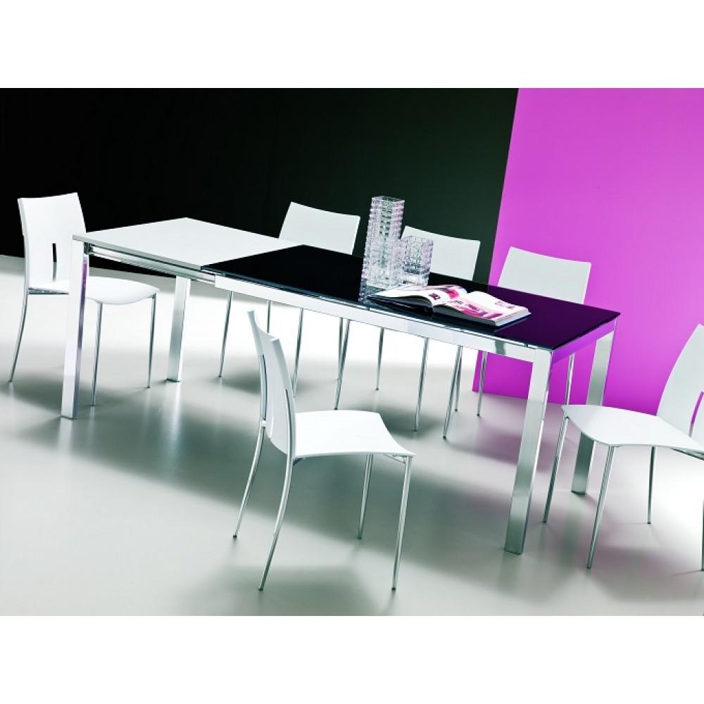 Стол EOS (42.34) М089/ M089/ С152 черн.глянц.стекло+L072 вставка алюм. — черный