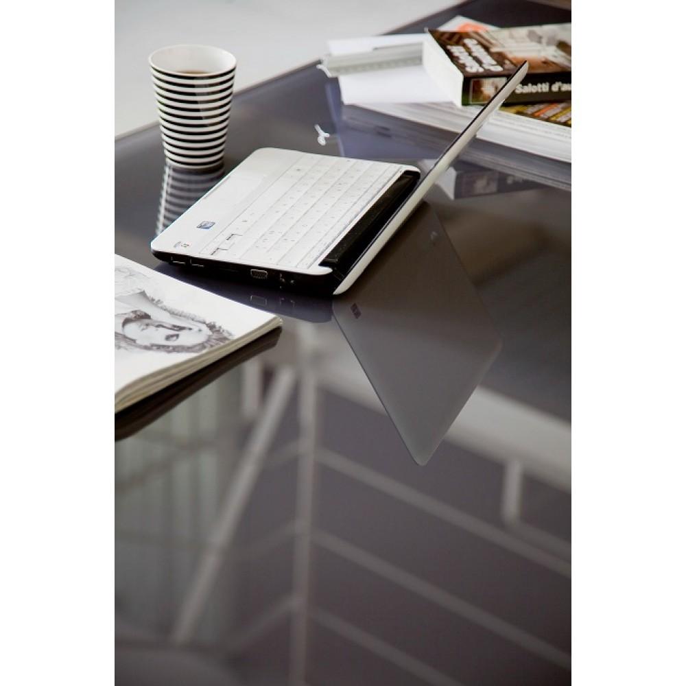 Стол LEO (42.55)120/170x80xН75 см (М310/M310/ С196антр, гл.стекло,вст045 антр.) — серый