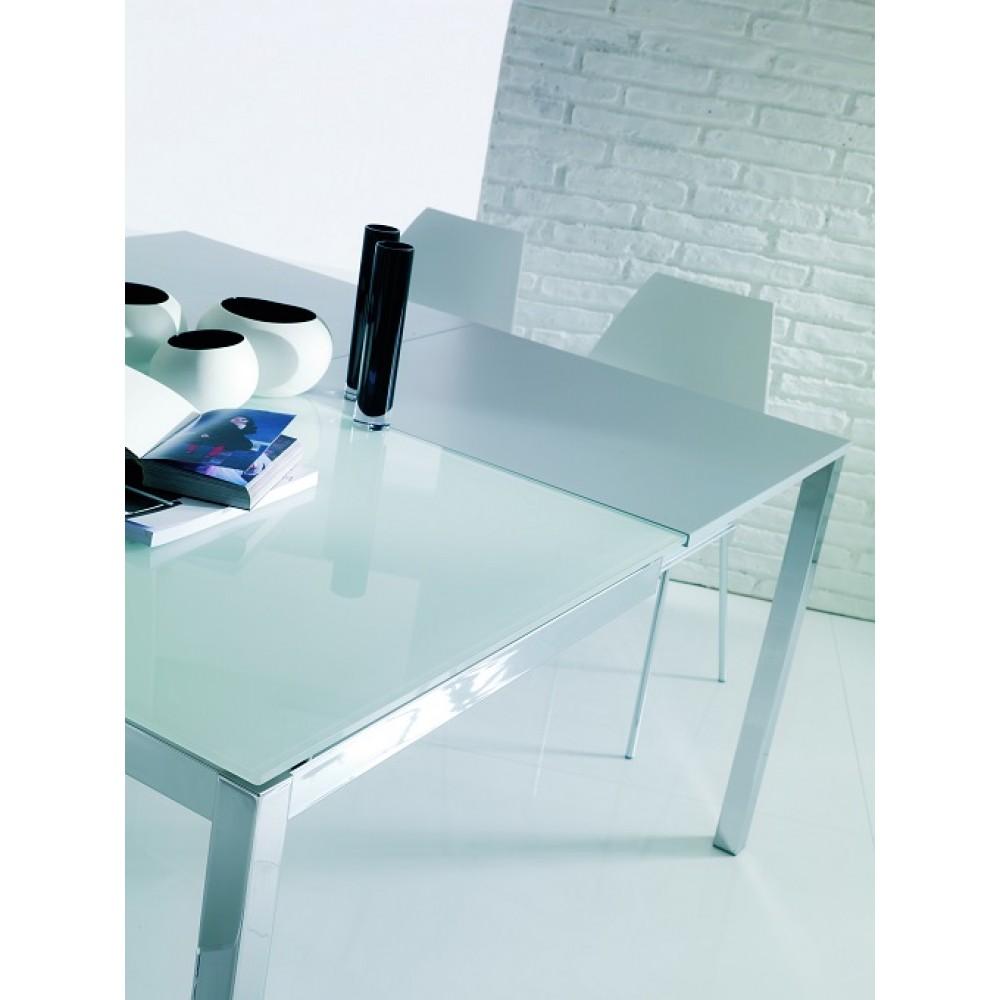 Стол MAGO (01.34) 100/140x70xН75 см (G093/ G093/ С150 э-бел.глянц.стекло+L072 ал) — белый