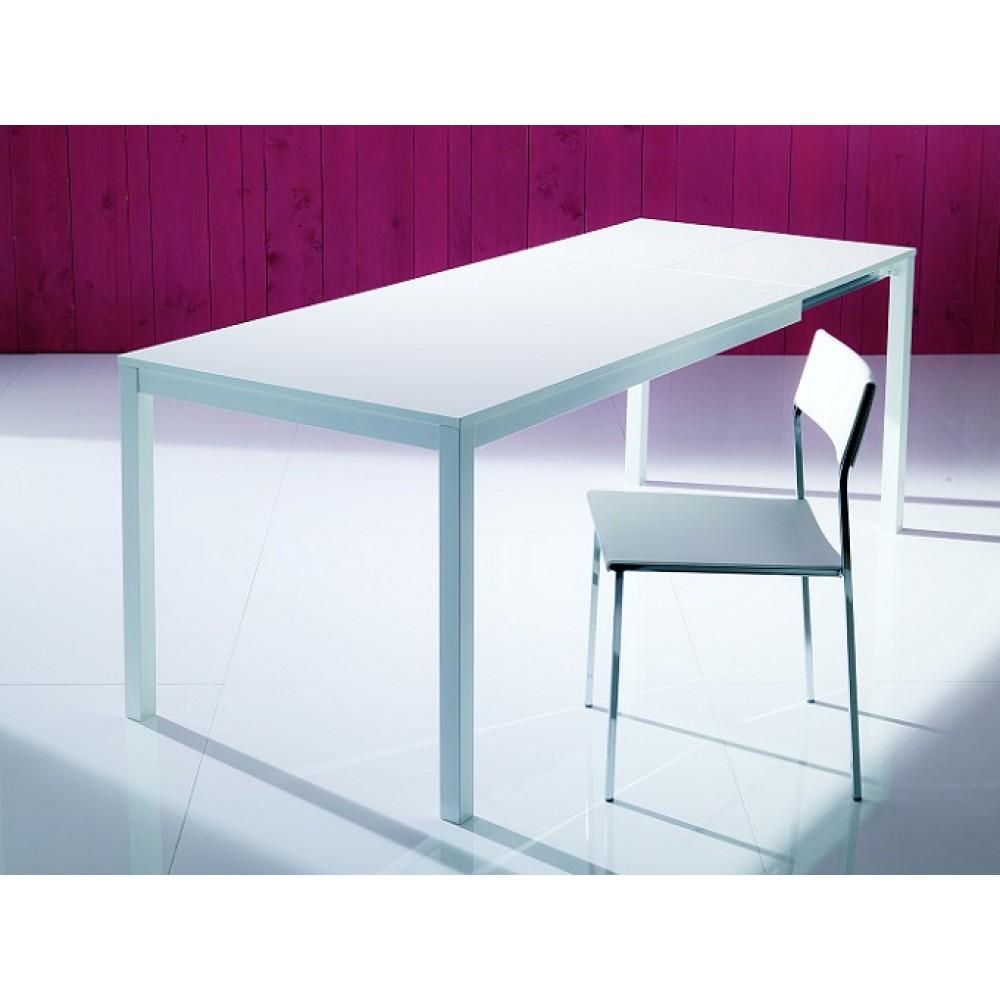Стол MAGO (01.35) 120/180x80xН75 см (М089/ M089/ С152 черн.глянц.ст+L072 ал) — черный