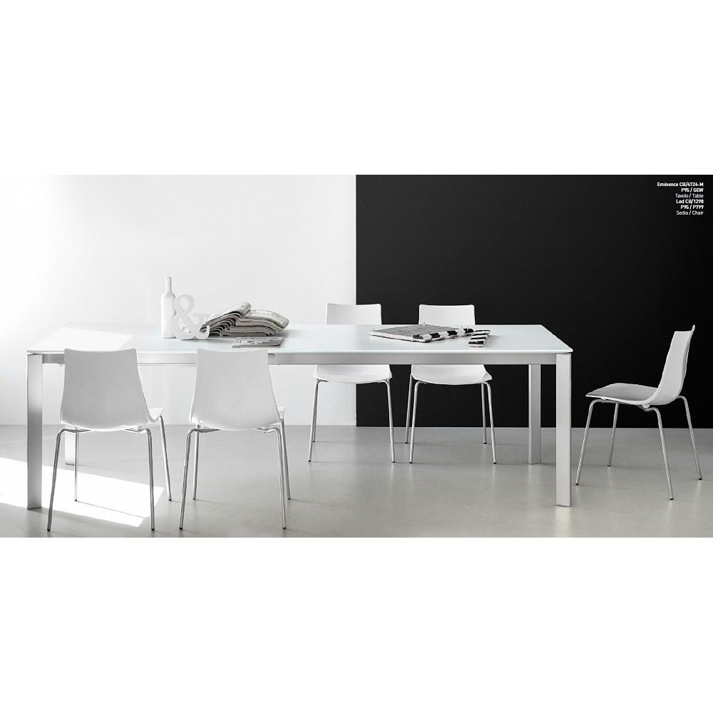 Стол раскладной EMINENCE 130B стекло - металл — белый
