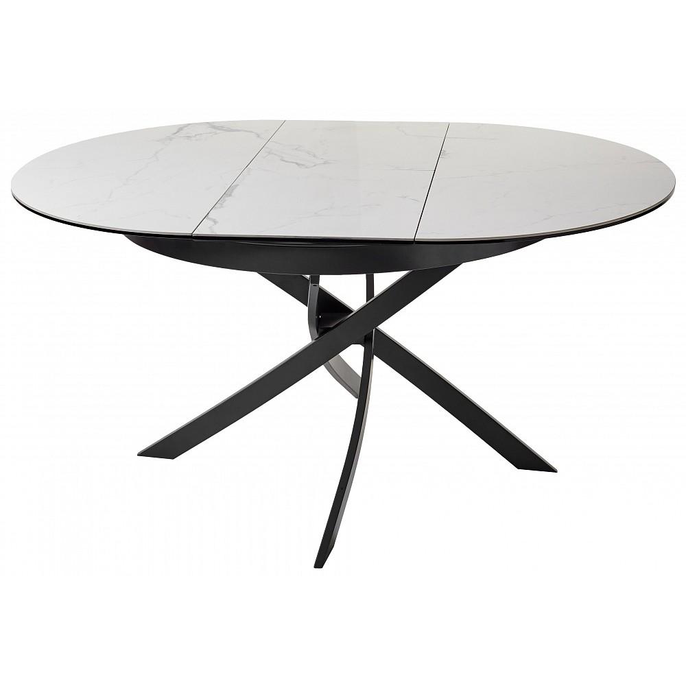Стол ORBIT D110 мрамор/графит — белый