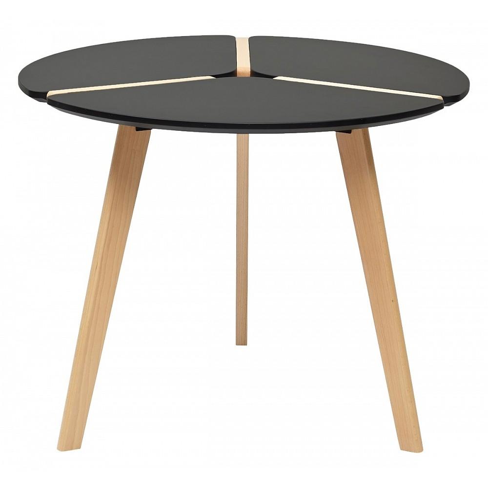 Стол PEONY D90 черный / массив бука