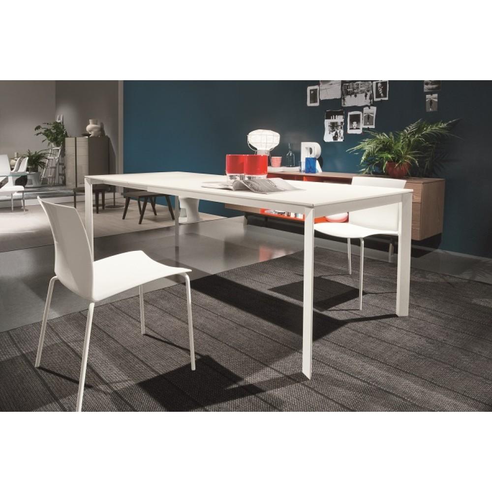 Стол DUBLINO (20.17) M306/ M306 бел./С180S VELVET, + L079 white wood ext — белый