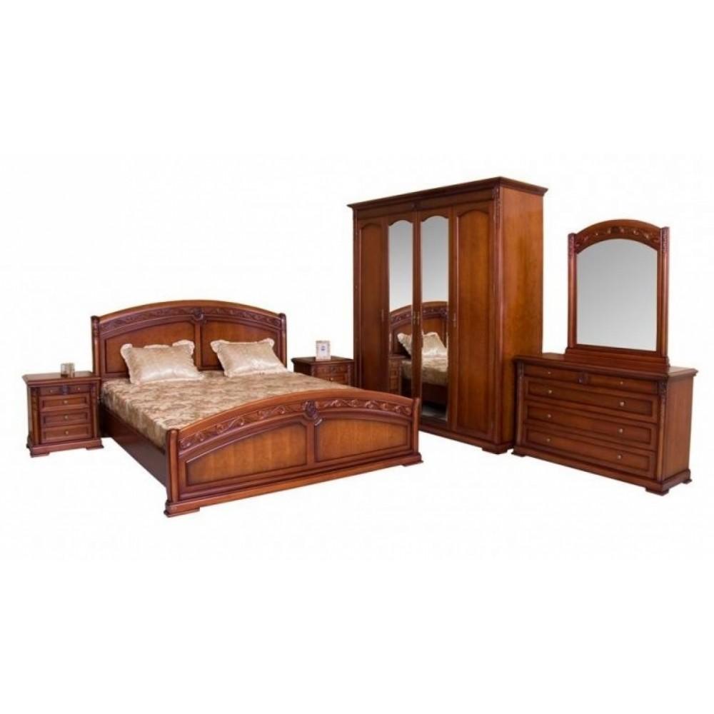 """Спальня """"Валенсия"""" (кровать 180х200 - 2-е прикроватные тумбы - комод с зеркалом - шкаф 4-дверный,) —  Темный орех (MK-Валенсия4)"""