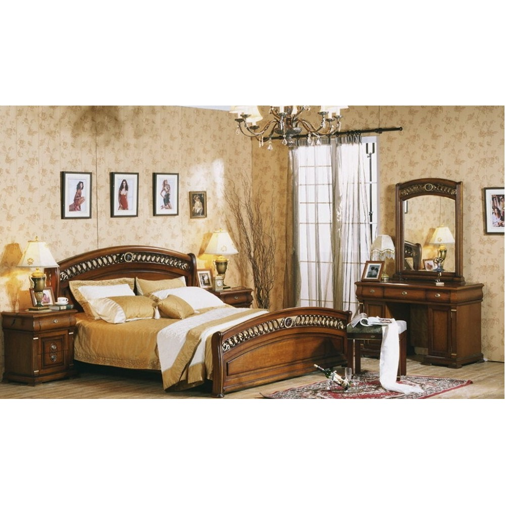 """Спальня """"Валенсия"""" (кровать 180х200 - 2-е прикроватные тумбы - комод с зеркалом) —  Темный орех (MK-Валенсия3)"""